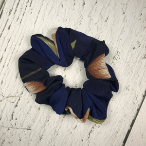 Navy Peach and Green Floral Scrunchie