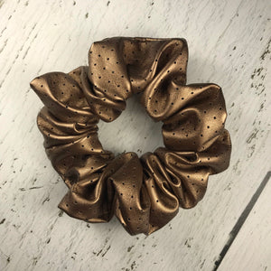 Bronze Faux Leather Scrunchie