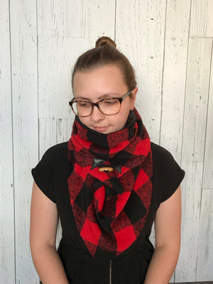 Small black and red Buffalo plaid Triangle wrap scarf