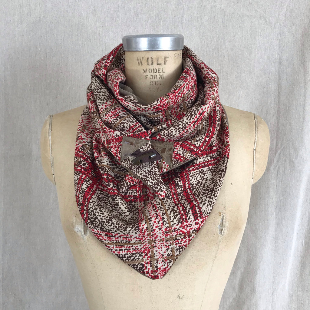 Small red and brown plaid knit Triangle wrap scarf