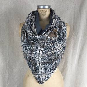 Large grey and brown knit plaid Triangle wrap scarf