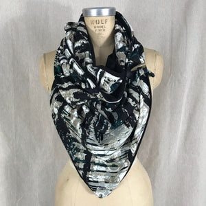 Large black, teal, sand brown, grey, white knit print Triangle wrap scarf