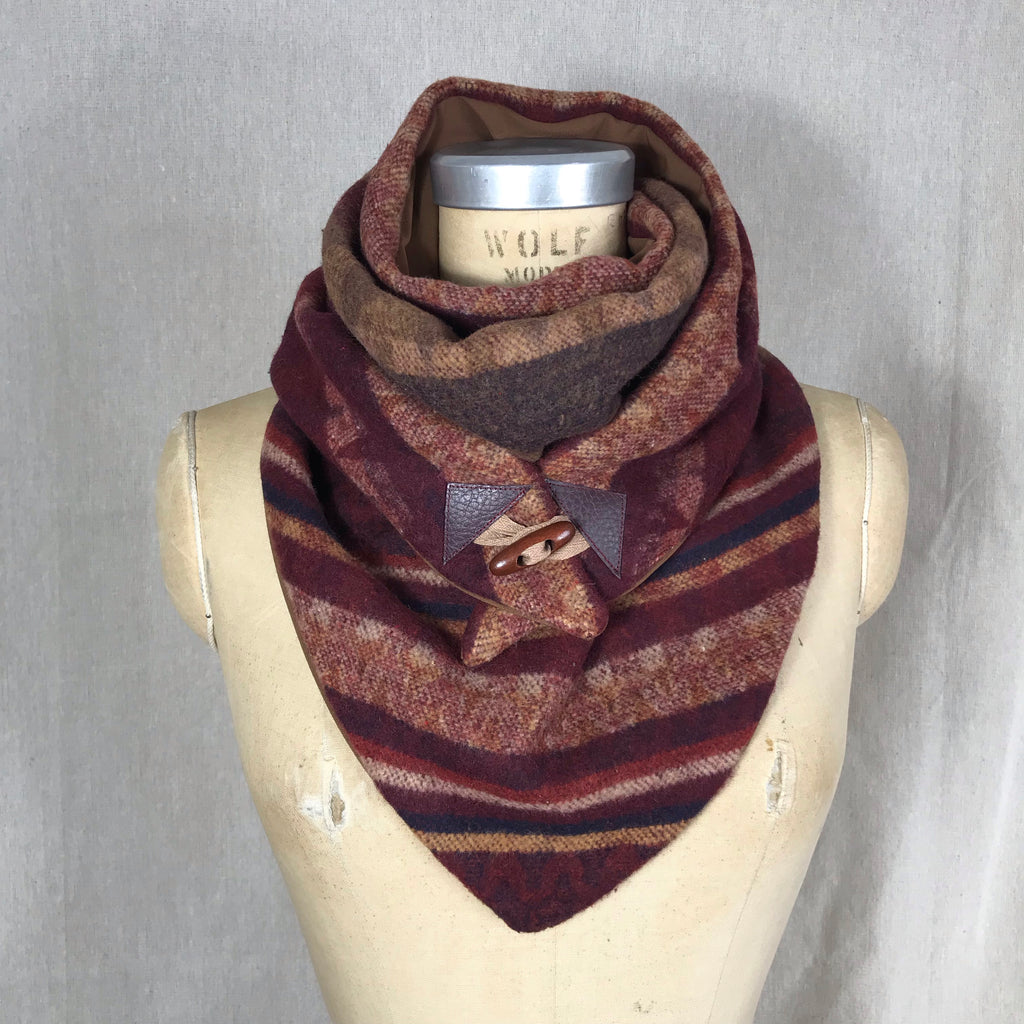 Small burgundy and browns Aztec print Triangle wrap scarf
