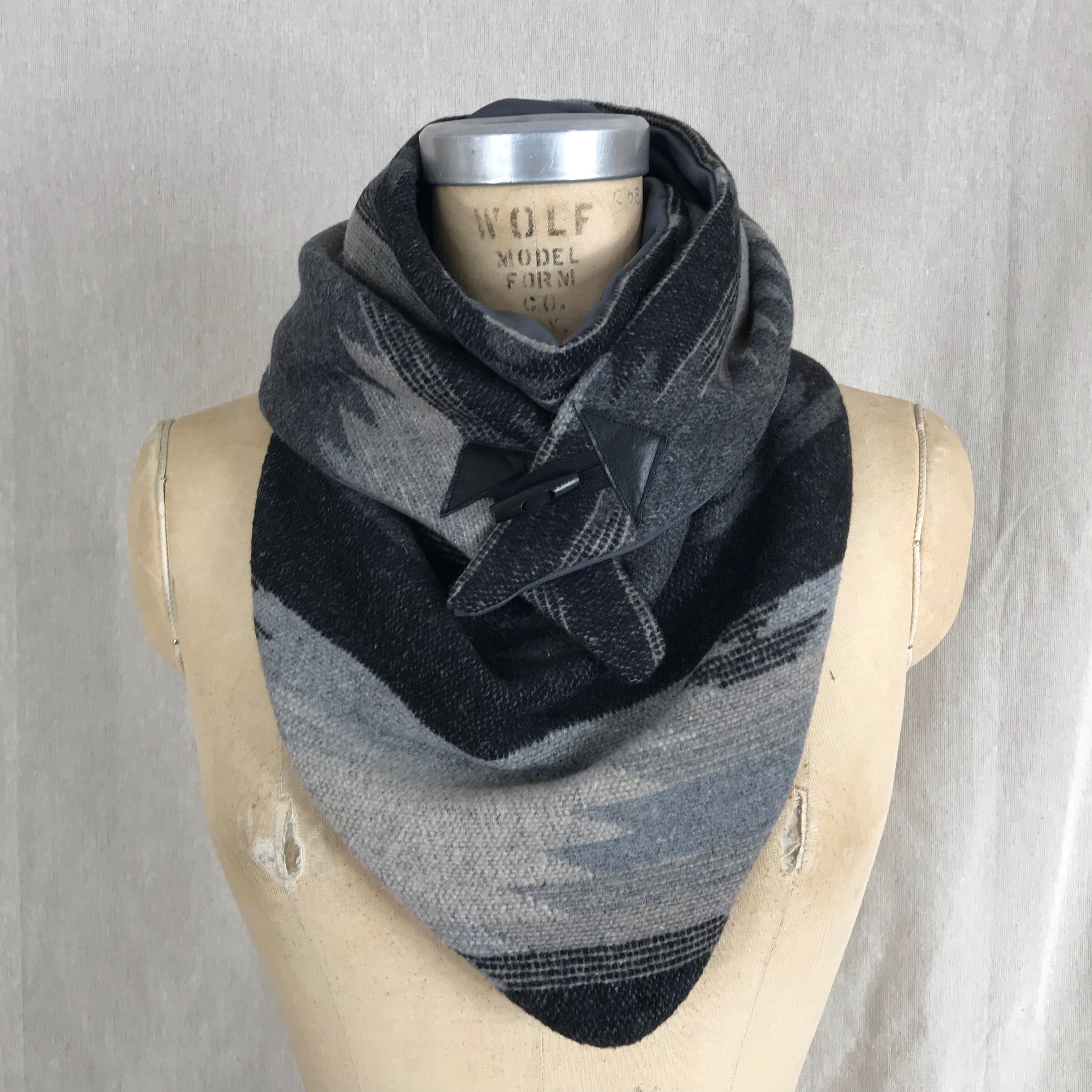Small grey and black Aztec print Triangle wrap scarf