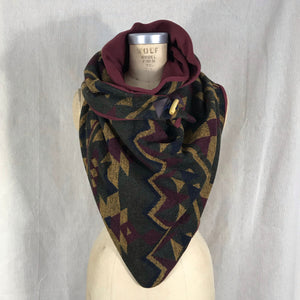 Large olive green, mustard, wine and navy aztec print with wine lining Triangle wrap scarf