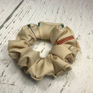 Cream Graphic with Teal and Orange Scrunchie