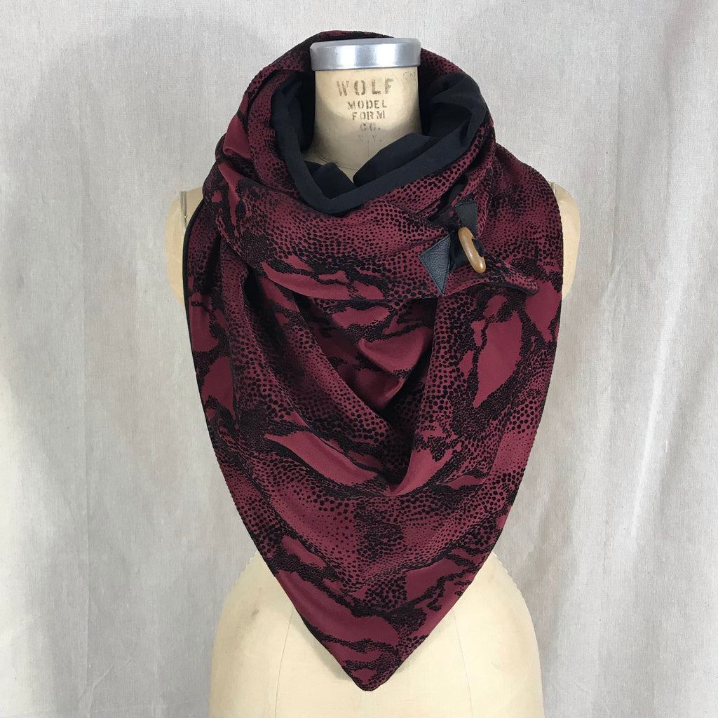 Large burgundy knit with black velvet animal print Triangle wrap scarf