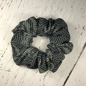 Grey with black pattern Scrunchie