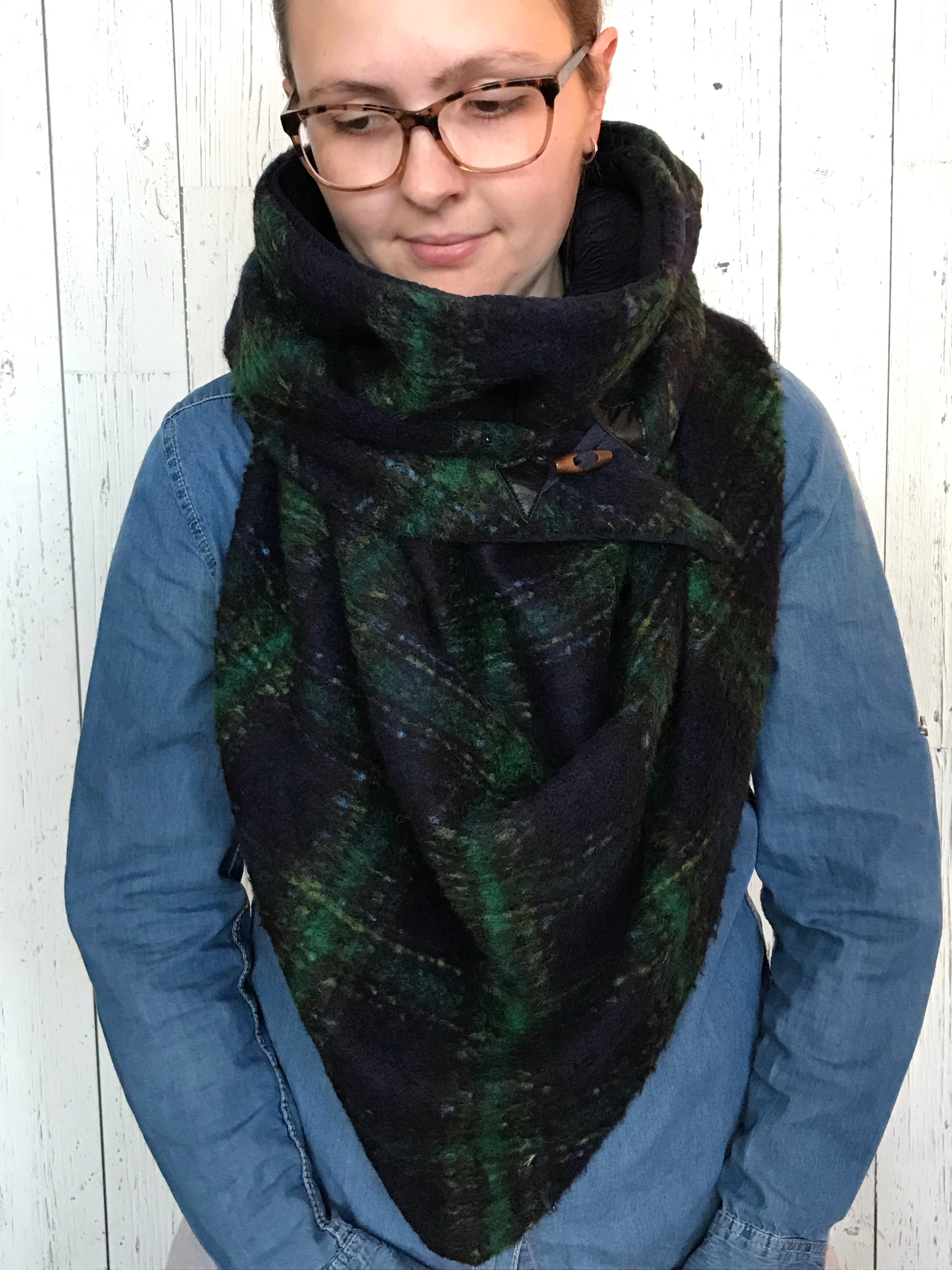 Large navy blue and green plaid Triangle Wrap Scarf