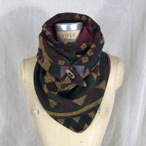 Small olive green, mustard, navy, wine Aztec print with wine lining Triangle wrap scarf