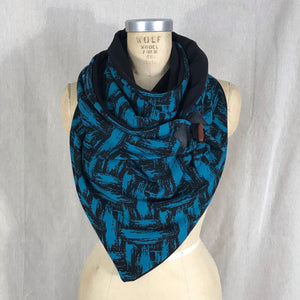 Large teal and black Triangle wrap scarf