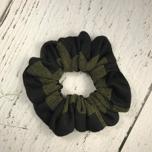 Olive Green and Black graphic stripe Scrunchie