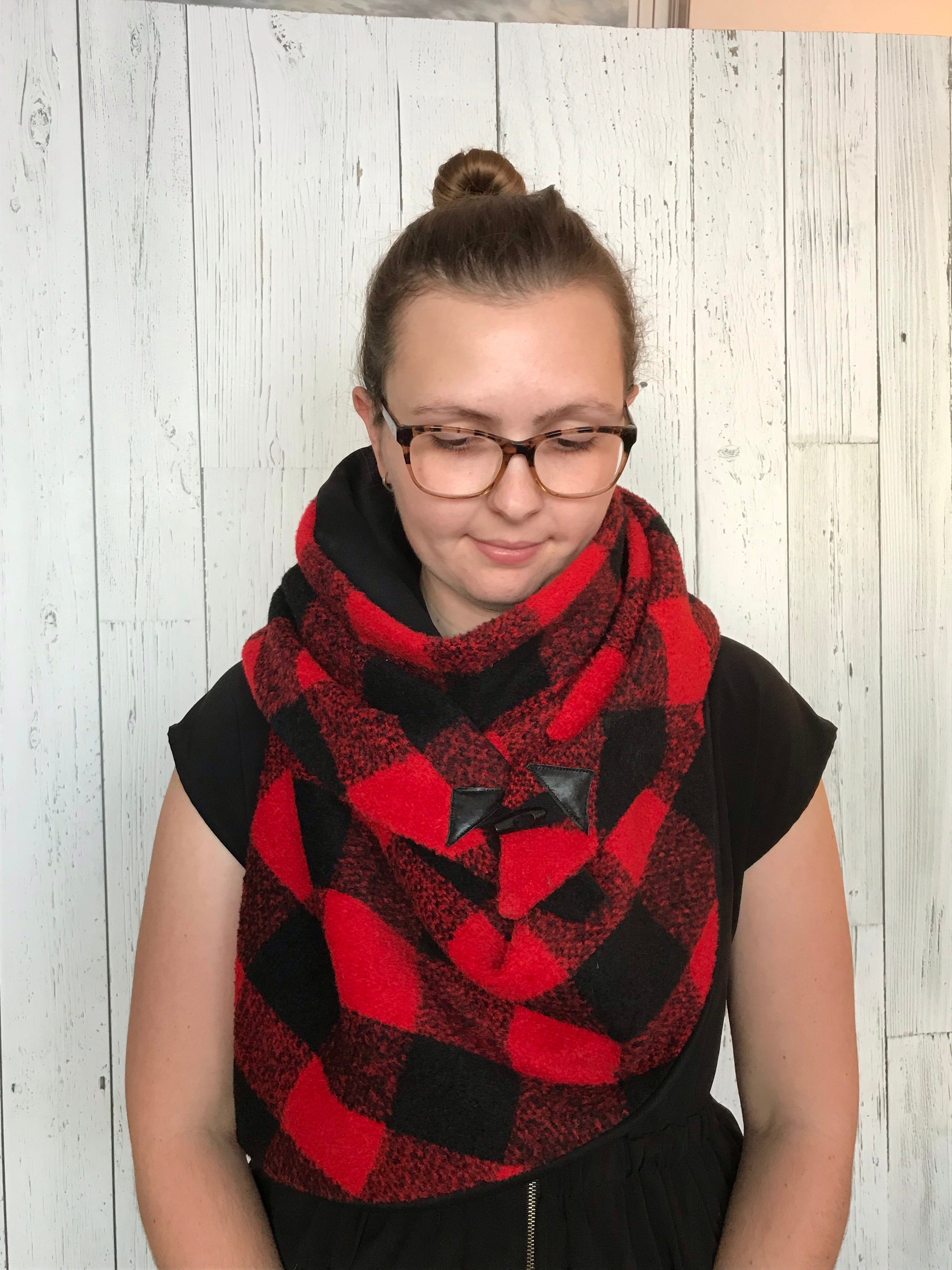 Large black and red Buffalo plaid Triangle wrap scarf