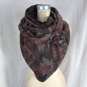 Large Rust and Brown Aztec print Triangle wrap scarf