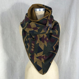 Large olive green, mustard, navy, wine Aztec print with mustard lining Triangle wrap scarf