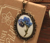 Forget me Not White Ornate Pendant