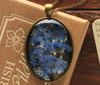 Forget Me Not Oval Glass Vintage Pendant