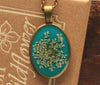 Queen Anne's Lace Turquoise Oval Resin Pendant