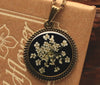 Queen Anne's Lace Black Round Pendant
