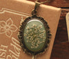 Queen Anne's Lace Olive Grey Ornate Pendant