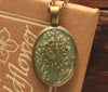 Queen Anne's Lace Olive Grey Oval Resin Pendant