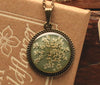 Queen Anne's Lace Olive Grey Round Pendant