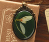 Snowdrop Oval Resin Pendant