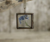 Forget Me Not Square Glass Pendant