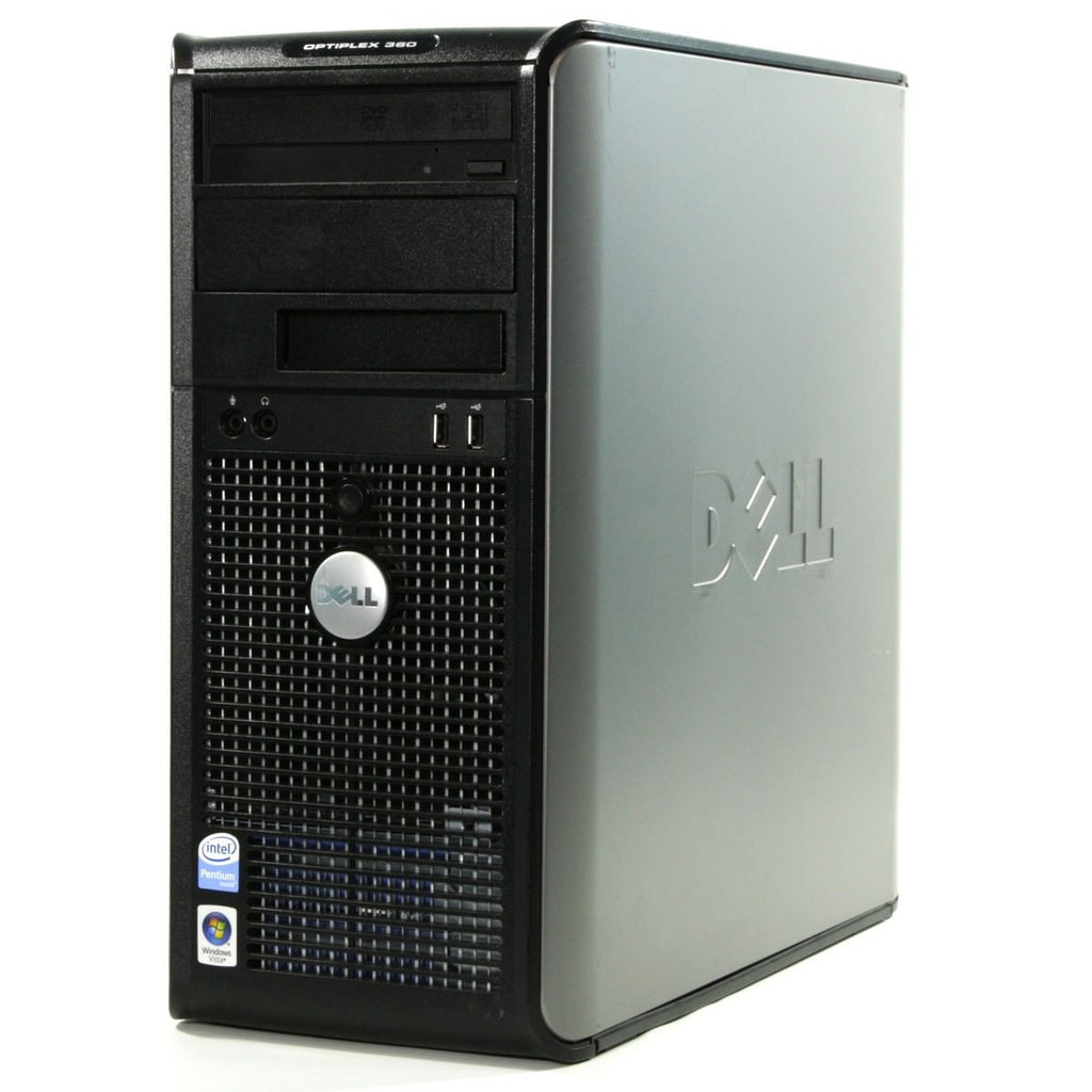 Dell 360 Tower C2D-E7300 2.66GHz 2GB 160GB DVD Windows 10 Home 32 bit (Refurbished)
