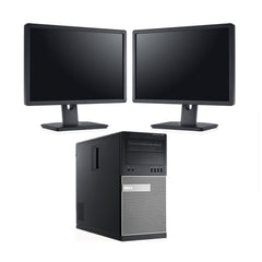 "Dell 7010 Tower i5 3470 16GB 2TB DVD Win 10 Pro Bundle DUAL 22"" LCD (Refurbished)"