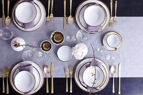 Dauville Bleu 20-piece place setting - Gold