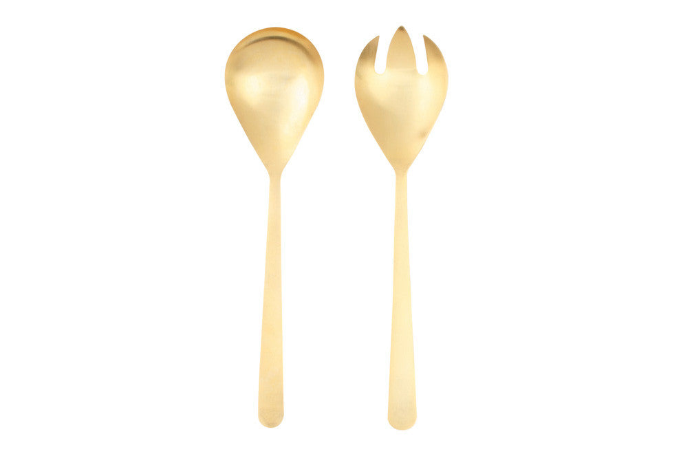 Oslo Salad Servers in Matte Gold
