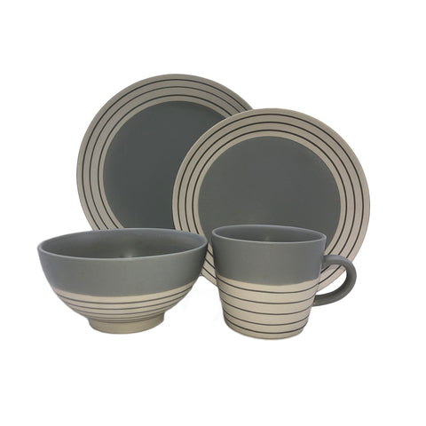 Clef - 4 piece place setting - Dark Grey