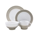 Clef - 4 piece place setting - White with black