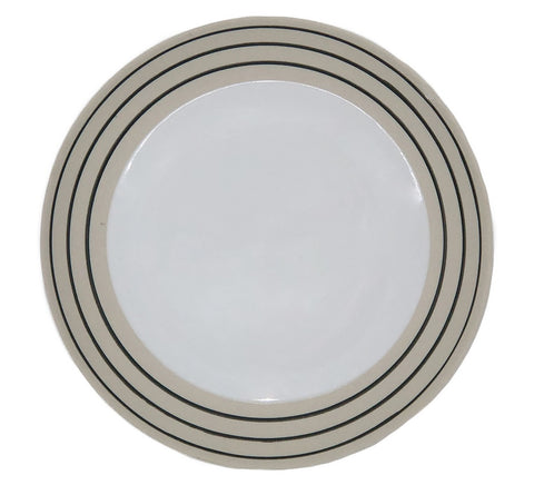 Clef Salad Plate - White with Black - Set of 4