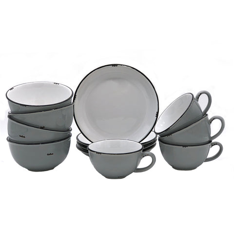 Tinware 12 Piece Breakfast Set with Latte Cups - Light Grey