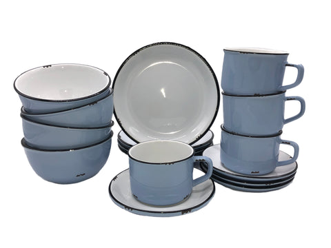 Tinware 16 Piece Breakfast Set with Cup & Saucer - Cashmere Blue