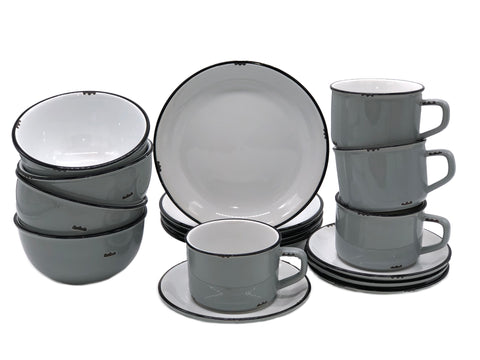 Tinware 16 Piece Breakfast Set with Cup & Saucer - Light Grey