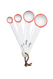 Tinware Measuring Spoons in White/Red Rim