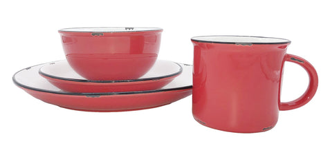 Tinware Salad Plate in Red