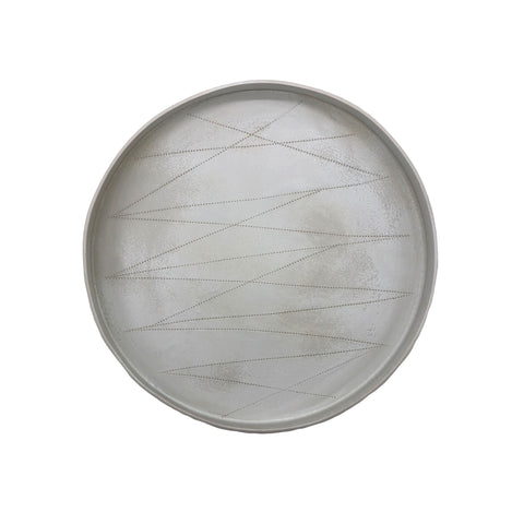 Taroudant Round Tray - Large - White Leather Glaze