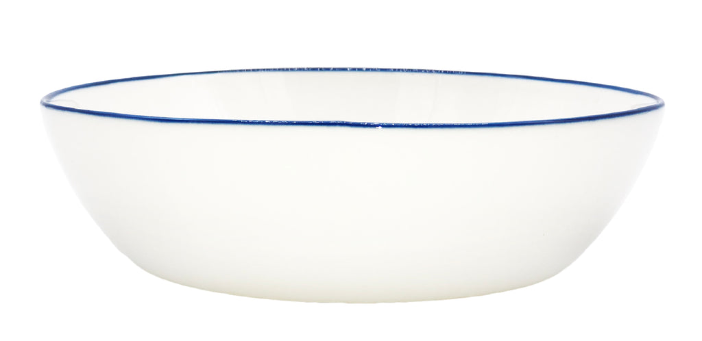 Abbesses Pasta Bowl in Blue Rim - Set of 4