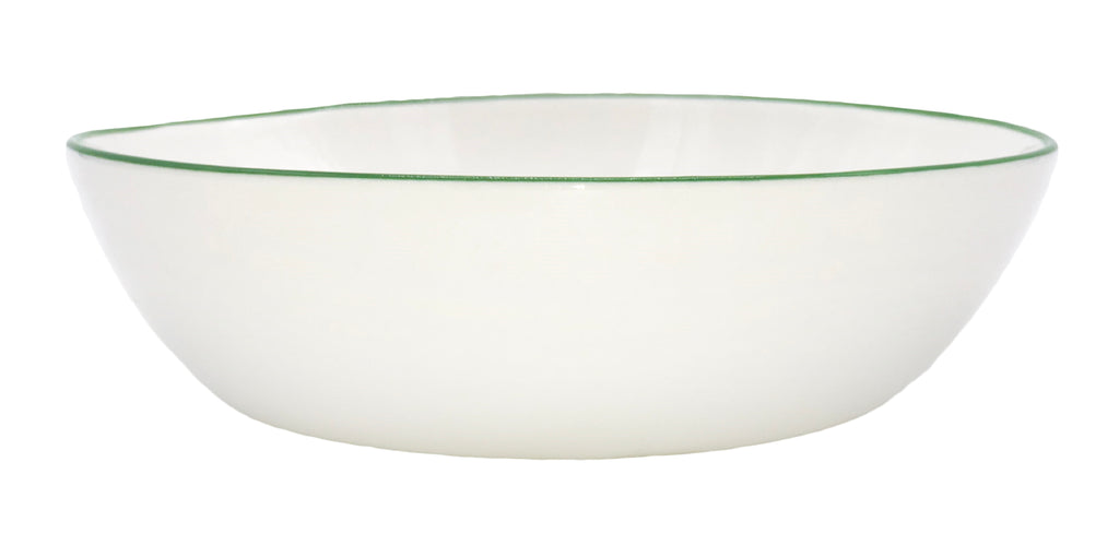 Abbesses Pasta Bowl in Green Rim - Set of 4