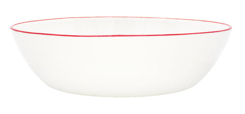 Abbesses Pasta Bowl in Red Rim - Set of 4