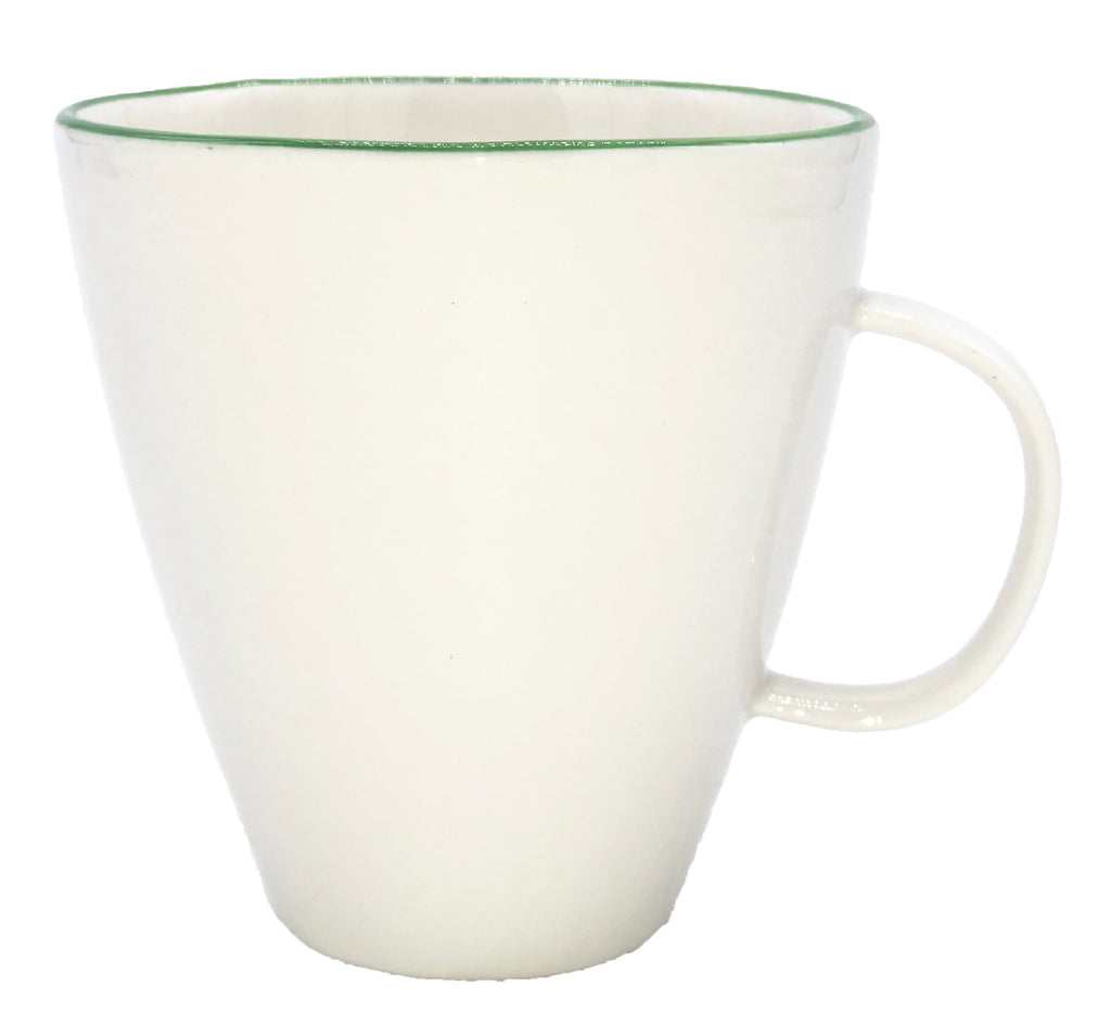 Abbesses Mug in Green Rim - Set of 4