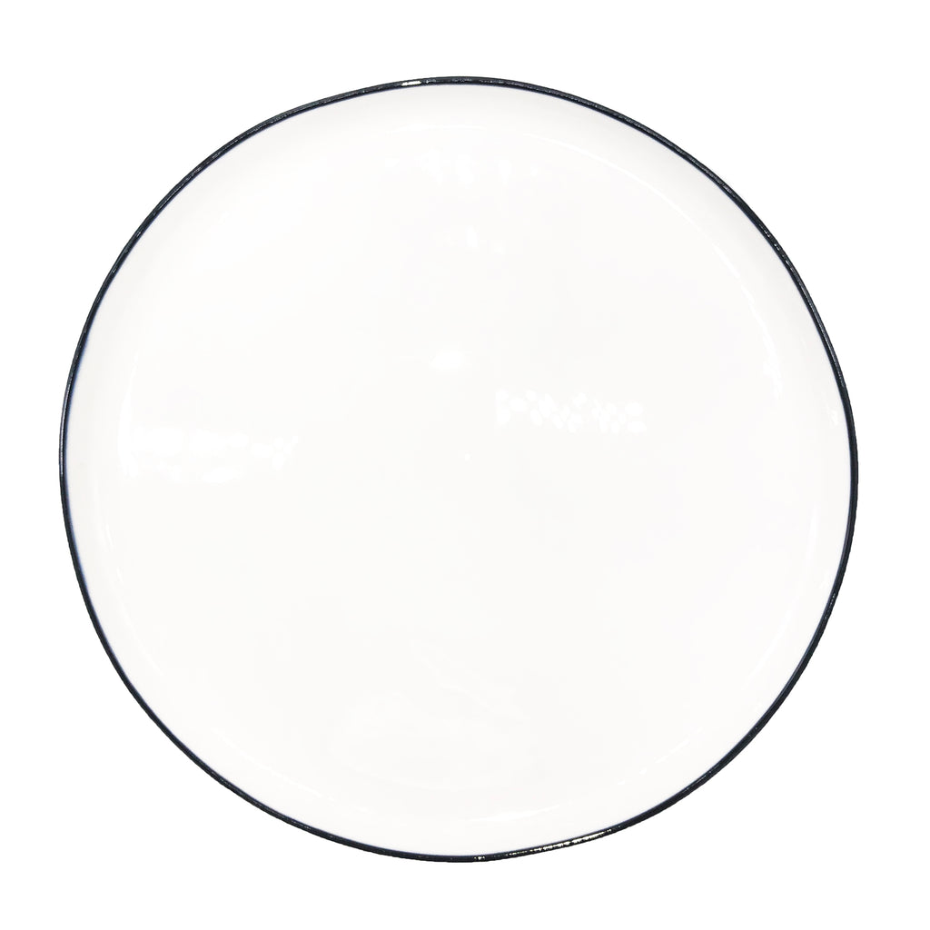 Abbesses Large Plate in Black Rim - Set of 4