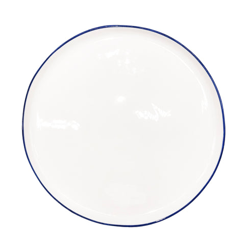 Abbesses Large Plate in Blue Rim - Set of 4
