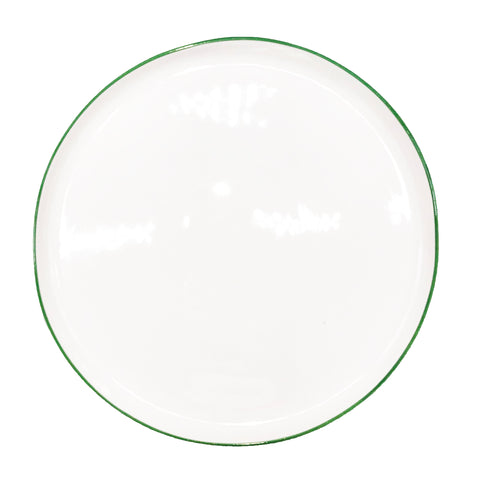 Abbesses Large Plate in Green Rim - Set of 4