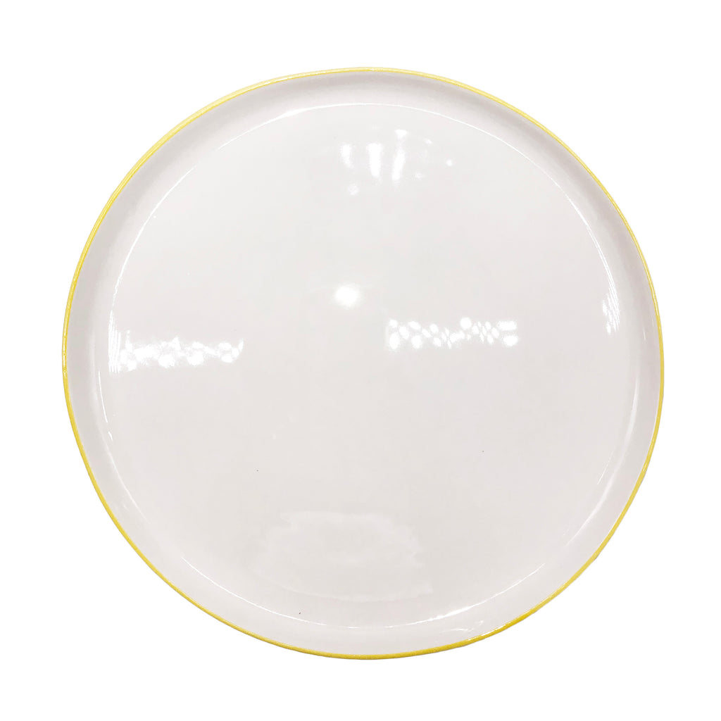 Abbesses Large Plate in Yellow Rim - Set of 4