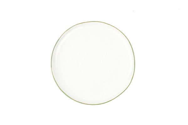 Abbesses Medium Plate in Green Rim - Set of 4